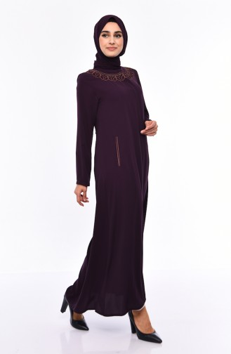 Large Size Embroidered Crepe Abaya 0007-01 Purple 0007-01