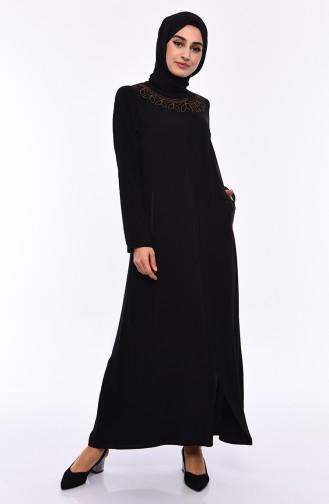 Large Size Embroidered Crepe Abaya 0007-03 Black 0007-03