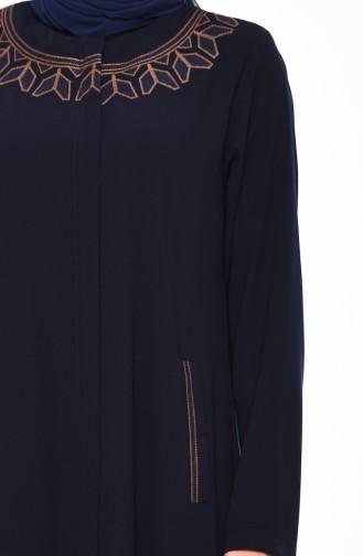 Large Size Embroidered Crepe Abaya 0007-04 Navy 0007-04