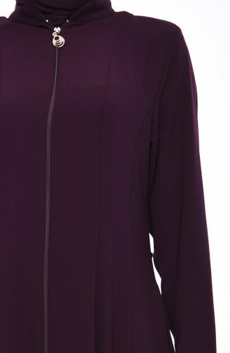 Zippered Crepe Abaya 0008-03 Purple 0008-03