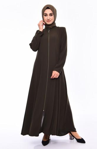 Zippered Crepe Abaya 0008-05 Khaki 0008-05
