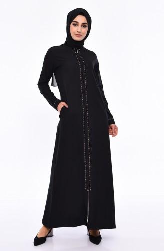 5895ed362e539 Sefamerve, Striped Abaya 99194-01 Black