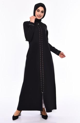 Abaya a Rayures 99194-01 Noir 99194-01