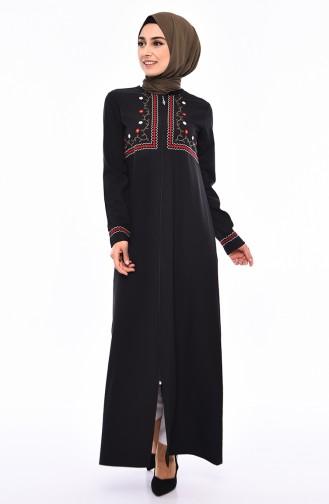 7b5fc76275530 Sefamerve, Embroidered Abaya 99195-01 Black
