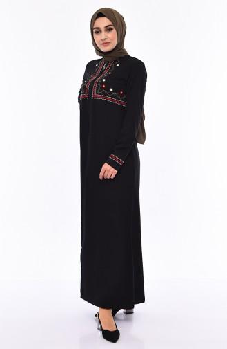 Abaya Brodée 99195-01 Noir 99195-01
