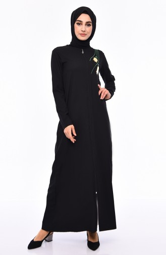 Abaya Brodée 99196-01 Noir 99196-01