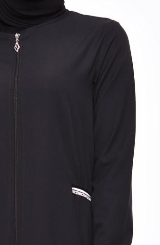 Shirred Detail Abaya 99197-01 Black 99197-01