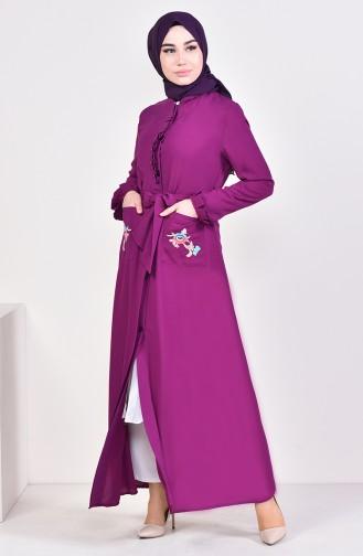 Pearly Belted Abaya 1391-02 Purple 1391-02