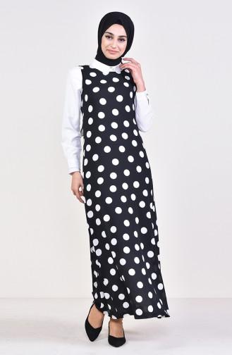 فستان بدون أكمام بتصميم مُنقط 7029-03 لون أسود 7029-03