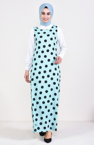Polka Dot Gilet Kleid 7029-04 Wassergrün 7029-04