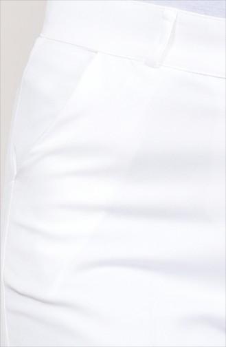 Cepli Düz Paça Pantolon 0233-01 Beyaz