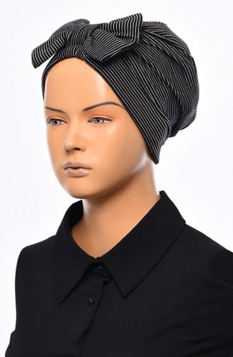 Striped Bow Bonnet 1035-01 Black 1035-01