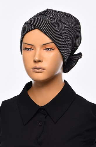 Striped Bow Bonnet 1035-01 Black 1035-01