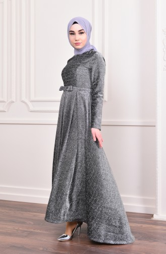 Silvery Belted Evening Dress 9065-01 9065-05 Black 9065-05