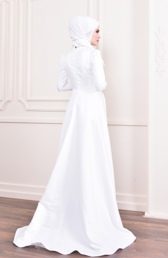Beaded Embroidery Evening Dress 6156-03 Light Beige 6156-03