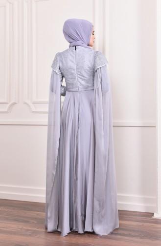 فستان سهر بتفاصيل من اللؤلؤ 6158-01 لون رمادي 6158-01