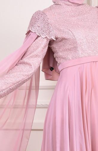 فستان سهر بتفاصيل من اللؤلؤ 6158-02 لون وردي باهت 6158-02