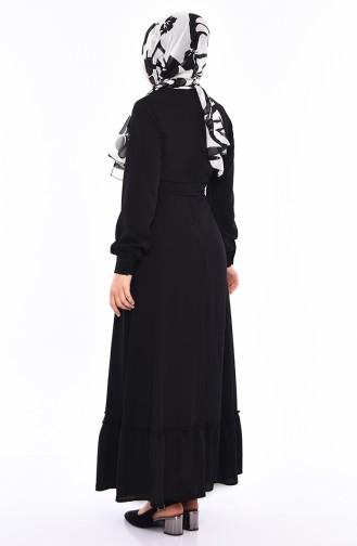 Düğme Detaylı Kuşaklı Elbise 3063-04 Siyah 3063-04