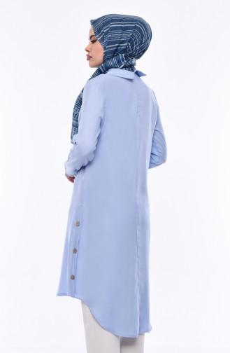 Asymmetrische Tunika mit Bebe-Hals 5412-06 Babyblau 5412-06