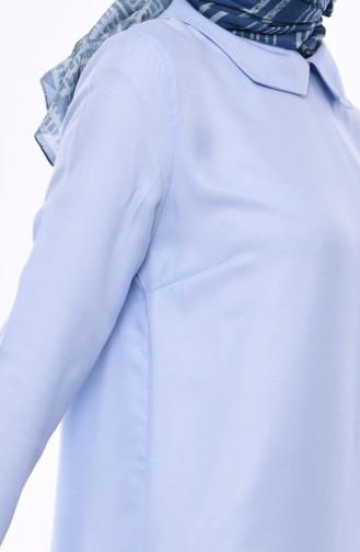 Bebe Collar Asymmetric Tunic 5412-06 Baby Blue 5412-06