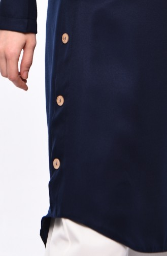 Bebe Collar Asymmetric Tunic 5412-07 Navy 5412-07