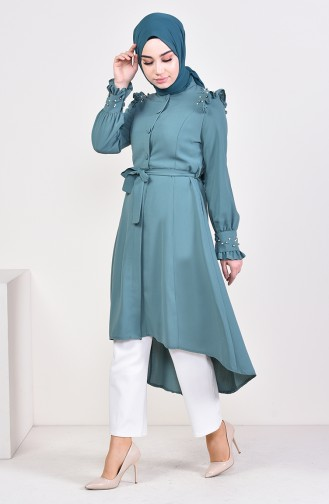 Pearls Belted Tunic 1385-01 Green 1385-01