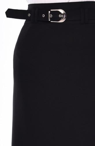 تنورة كلوش بتصميم حزام للخصر 0410-02 لون اسود 0410-02