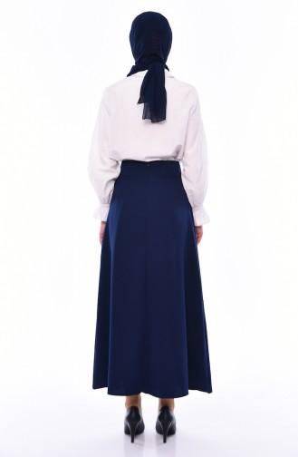 Button Detailed Skirt 0411-04 Navy 0411-04