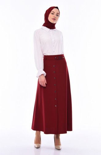 Button Detailed Skirt 0411-05 Bordeaux 0411-05