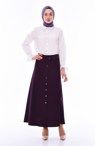 Button Detailed Skirt 0411-06 purple 0411-06