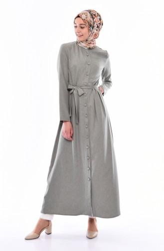Buttoned Belted Abaya 2066-03 Khaki 2066-03