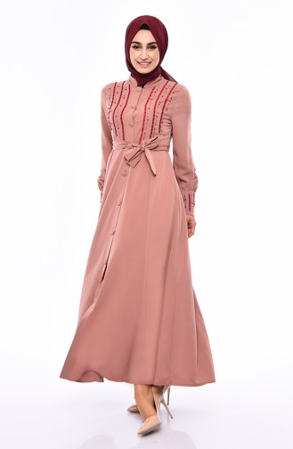 Pearly Belted Abaya 1374-02 Powder 1374-02