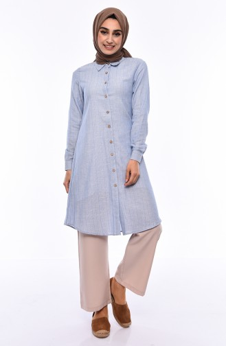 Buttoned Linen Tunic 5413-02 Blue 5413-02