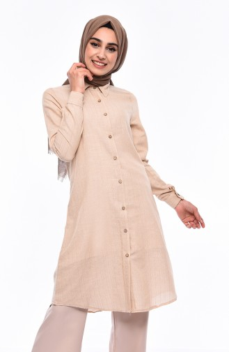 Buttoned Linen Tunic 5413-03 Beige 5413-03