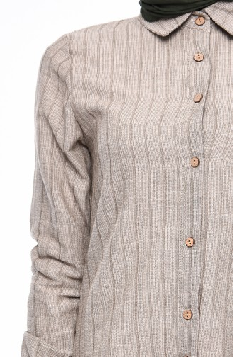 Buttoned Linen Tunic 5413-04 Gray 5413-04
