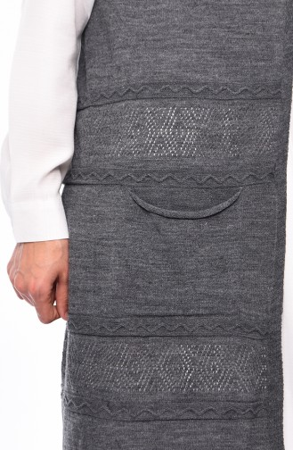 Slim Fit Knitwear Pocket Vest 4124-14 Smoked 4124-14