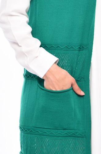 Slim Fit Knitwear Pocket Vest 4124-15 Green 4124-15