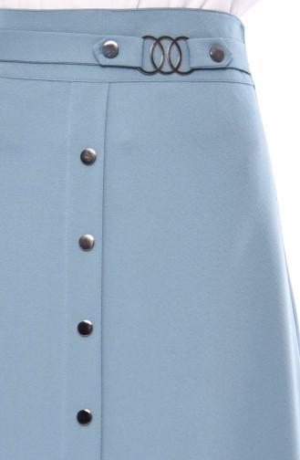 Düğme Detaylı Etek 0411-01 Çağla Yeşili