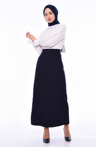 Slit Detailed Pencil Skirt 2205-01 Navy Blue 2205-01