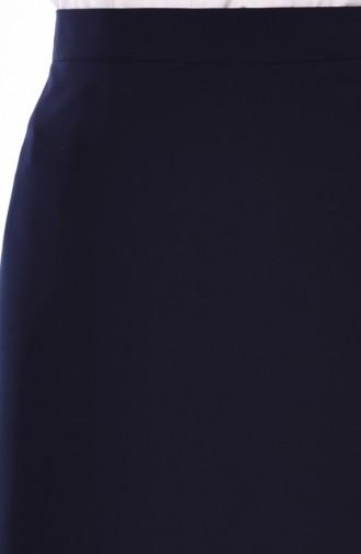 Yırtmaç Detaylı Kalem Etek 2205-01 Lacivert