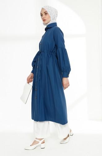 Arm Detailed Shirred Coat 9035-11 Indigo 9035-11