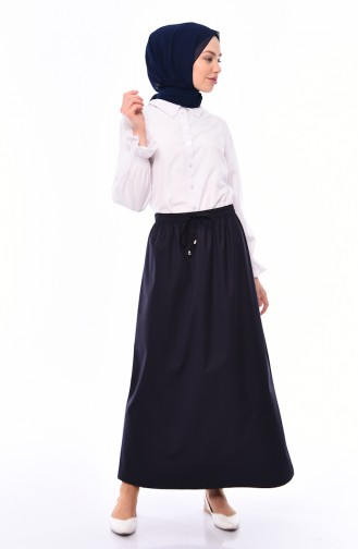 Plated Waist Skirt 1001E-05 Navy 1001E-05