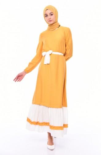 Ruffled Dress  5696-02 Mustard 5696-02