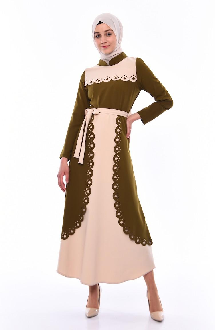 1b65d09c2 فستان بتصميم مقطّع بالليزر و حزام للخصر 20025-01 لون أخضر زيتي 20025-01