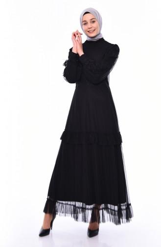 Dantelli Elbise 8135-01 Siyah