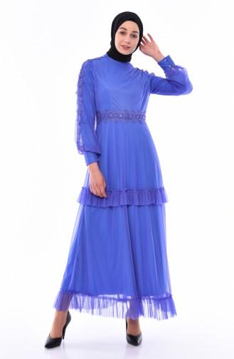 Kleid mit Spitze 8135-02 Blau 8135-02