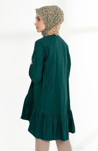 Platted Asymmetric Tunic 9014-03 Emerald Green 9014-03
