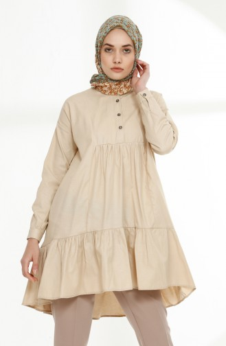 Platted Asymmetric Tunic 9014-05 Beige 9014-05