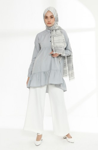 Platted Asymmetric Tunic 9014-06 Gray 9014-06