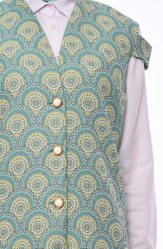 Patterned Vest 1275-01 Almond Green 1275-01